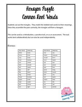 Common Root Words Hexagon Puzzle