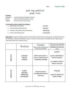 Common Root Words Vocabulary