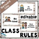 Classroom Rules for Farmhouse Shiplap Decor Editable