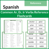 Common SPANISH AR, ER, IR Verbs List