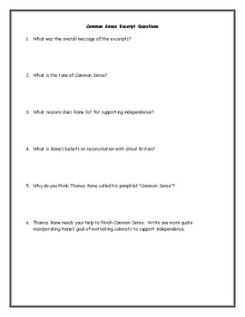 Common Sense Adapted Excerpt Worksheet with Questions and Key