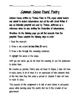 Common Sense Found Poetry-Version 3