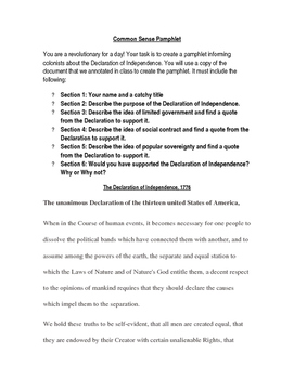 Common Sense Pamphlet