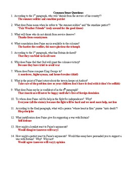 Common Sense Reading Excerpt and Questions