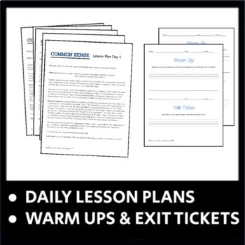 Common Sense - Thomas Paine - 5 Day Unit, CCSS by Teach ...