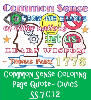 Common Sense- Thomas Paine COLORING PAGE Quote SS.7.C.1.2