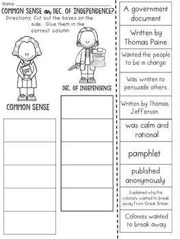 Common Sense VS Declaration of Independence: Cut and Paste Sorting Activity