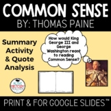 "Common Sense Visual ""Book"" Summary and Quote Placard analysis"