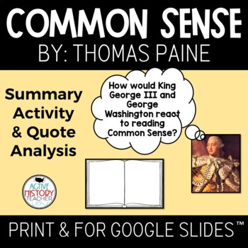 """Common Sense Visual """"Book"""" Summary and Quote Placard analysis"""