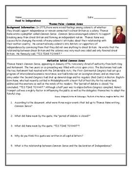 Common Sense Worksheet with Answer Key