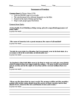 Common Sense and Declaration of Independence worksheet