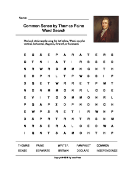 Common Sense by Thomas Paine Word Search (Grades 2-5)