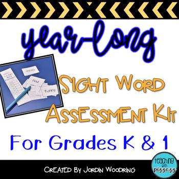 Common Sight Word Assessment Kit for Kindergarten and 1st Grade