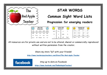 Common Sight Words - Star Word Lists