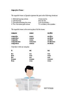 Common Spanish Verb Tenses Handout: Present, Imperfect and Preterite - FREEBIE