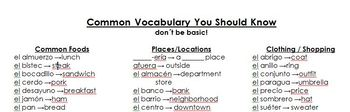 Common Spanish Vocabulary List (Word Document)