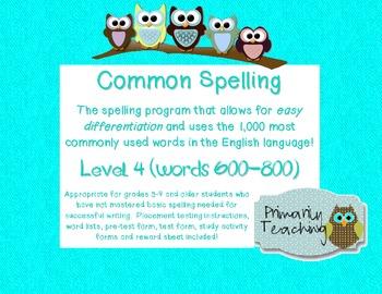 Common Spelling Level 4