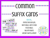 Common Suffix Cards - Use for Word Study, Focus Walls, and More!