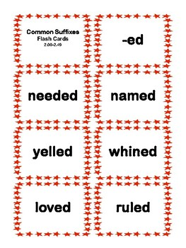 2nd Grade 2.00-2.49Common Suffixes Cards Aligned to Ameican Reading Company IRLA