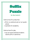 Common Suffixes and Definitions Puzzle