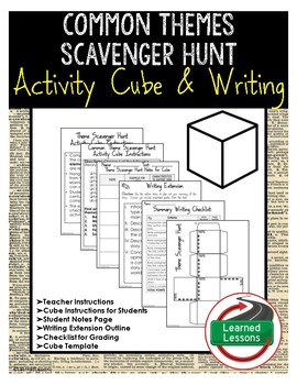 Common Themes Scavenger Hunt Activity Cube with Writing Extensions (English)
