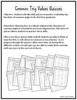 Common Trig Values Quizzes