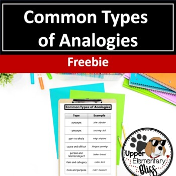 Common Types of Analogies Reference Sheet FREEBIE