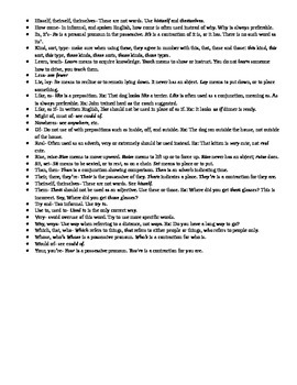 Common Usage Problems Worksheet with Tips for students