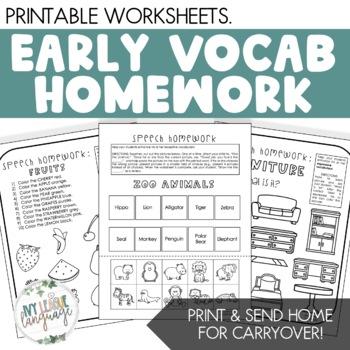 Common Vocabulary Homework Sheets