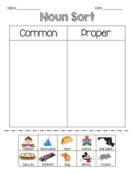 Common Vs. Proper Noun Picture Sort