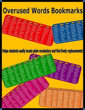 Overused Words Bookmarks For Writing