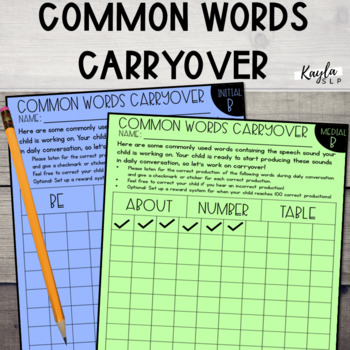 Common Words Carryover for Articulation
