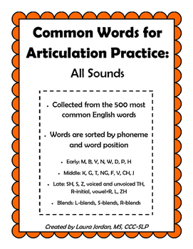Common Words for Articulation Practice: All Consonant Sounds