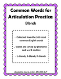 Common Words for Articulation Practice: Blends