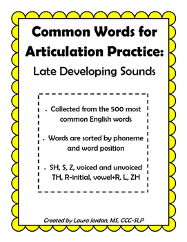 Common Words for Articulation Practice: Late Developing Sounds
