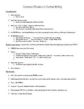 Common Writing Mistake to Avoid - Student Reference Sheet
