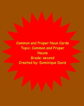Common and Proper Noun Cards