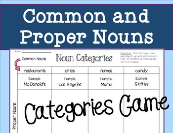 Common and Proper Noun Categories Game