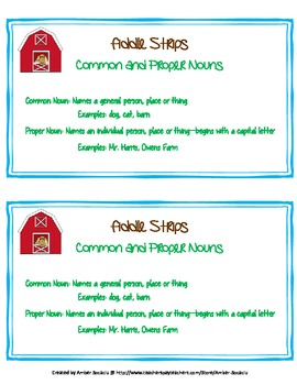 Common and Proper Noun - Fiddle Strips! Game with a Barnyard Theme