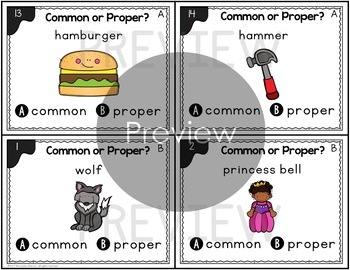 Common and Proper Noun First Grade Task Cards & Poster for Grammar Centers