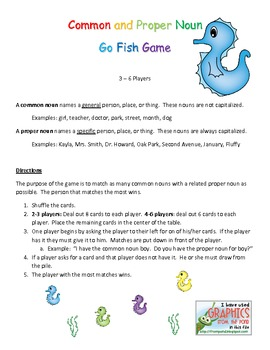 Common and Proper Noun Go Fish and Matching Game