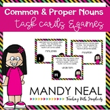 Common and Proper Noun Grammar Task Cards, Games, and Centers