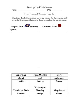 Common and Proper Noun Packet