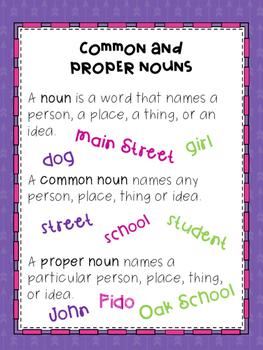 Common and Proper Noun Poster FREEBIE