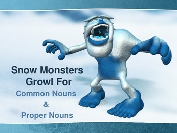 Common and Proper Noun Powerpoint : Snow Monster Theme