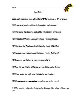 Common and Proper Noun Quiz