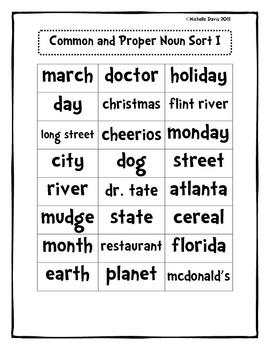 Common and Proper Noun Sort by Michelle Davis | Teachers Pay Teachers