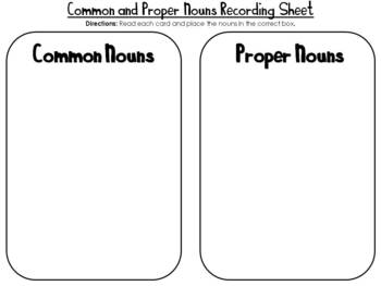Common and Proper Noun Sort- Center Activity
