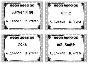 Common and Proper Noun Task Cards no captialization