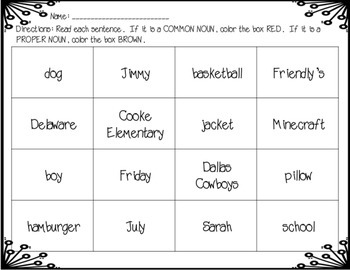 Common and Proper Noun Worksheets